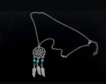 Silver Turquoise Beaded Dreamcatcher Necklace