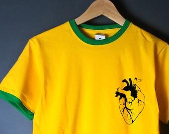 Heart T shirt, anatomical heart, heart pocket