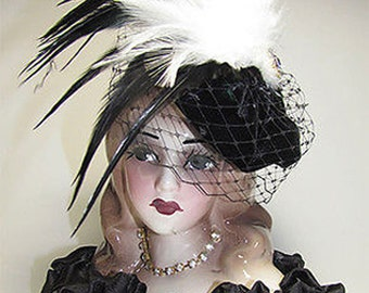 Unique Creations American Handmade Small with decorations 9' Art Decor Doll Lady Head Vase