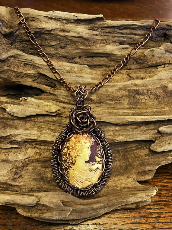 Gifts for Her Nymph Cameo Pendant Necklace Made in the USA Wire Wrapped Pendant Wicca Pendant Faerie Cameo Pendant Beaded Pendant