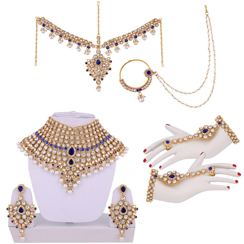 Maangtikka Nose ring Wedding Jewelry Bollywood Jewelry Blue Full Bridal Jewellery Set Indian Bridal Dulhan Jewelry Set Necklace