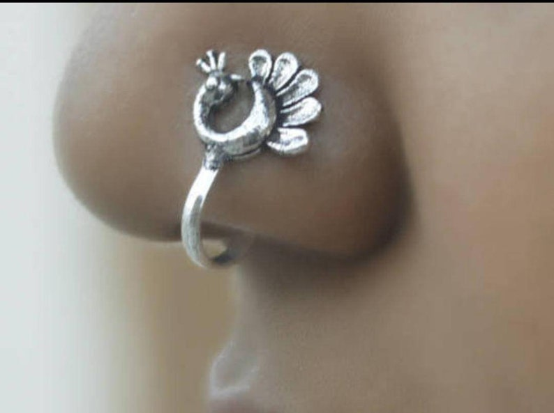 Non Pierced Peacock Nose Ring Boho Jewelry