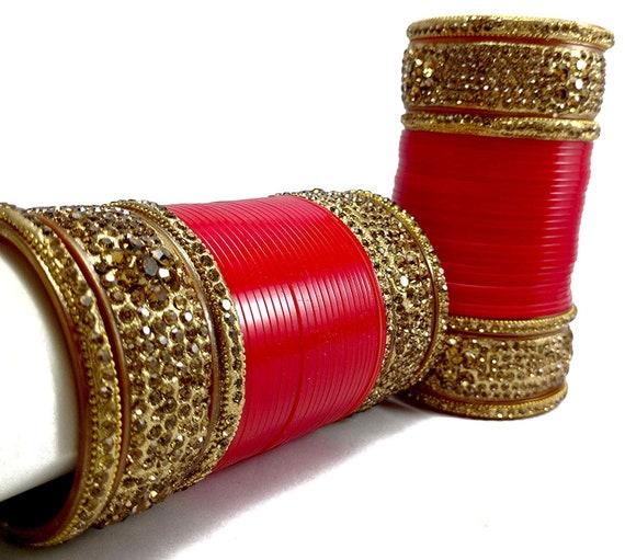 Indian Bridal Chura/Choora Bangles Bridal Chooda Golden Red   Etsy
