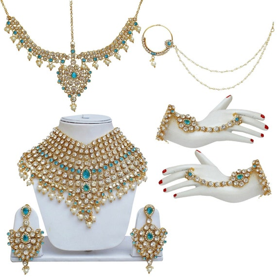 Ferozi Aqua Blue Full Bridal Jewellery Set Bollywood Jewelry Etsy