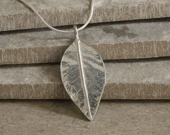 10 Year Anniversary Tin Leaf Necklace on Sterling Silver Chain. Tin Anniversary Jewellery. Crafted in Cornwall. 10th Wedding Anniversary.