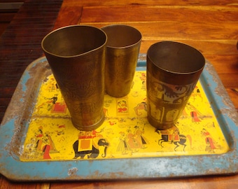 Vintage tray and glasses Lassi India