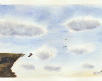 Original Watercolor Painting Of Girl Jumping From Cliff by Tim Borkert