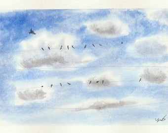 Original Watercolor Painting Of  Birds On A Line by Tim Borkert