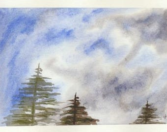 Original Watercolor Painting Of Sky And Trees by Tim Borkert