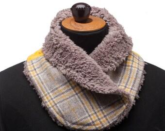 Cache col hiver mini écharpe snood col femme col détachable col tissu  lainage carreaux velours jaune fausse fourrure taupe 4f1e9d78965