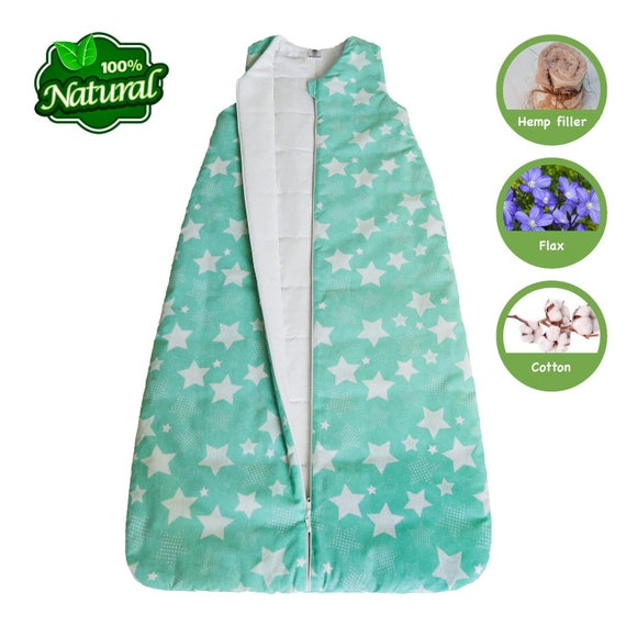 size 40 ab585 89097 HEMP and Linen sleeping bag sleep sack for Baby - 6- 12 month / 1- 2.5 tog