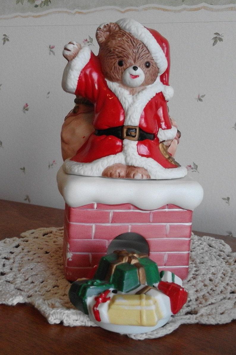 House of Lloyd 1989 Ceramic Santa Bear on Chimney Scent Diffuser