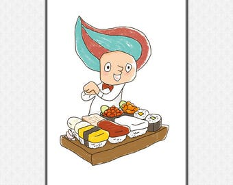 A Boy Making Sushi Deluxe Art Print   Large printable poster   Japanese Wall Art    High-Res 300dpi JPEG file