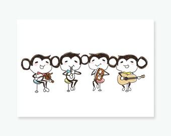 The Monkey Quartet | Printable postcard | A6 High-Res 300dpi JPEG print  | concert invites