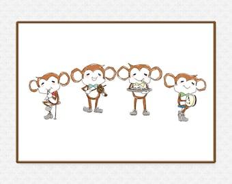The Monkey Quartet Art Print | Large printable poster | Wall Art | High-Res 300dpi JPEG file