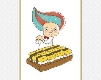 A Boy making egg Sushi Art Print   Large printable poster   Japanese Wall Art    High-Res 300dpi JPEG file