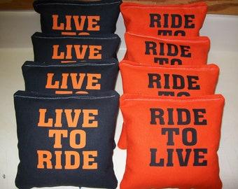 CORNHOLE BEAN BAGS HARLEY FLAMES MOTORCYCLE BIKER 8 ACA Baggo Toss Party Bags