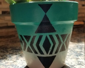 colorful hand painted terracotta flower pot
