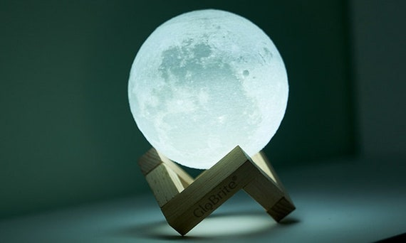 Moon Lamp 3D lithophane rechargeable Print with Touch Sensing Switch Night Lamp 7 20cm Diameter 6 Types Available LED lunar art deco raak