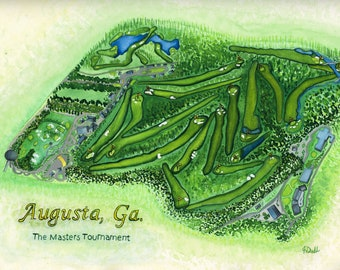 The Masters Tournament Golf Course Map, Watercolor, Giclee Print