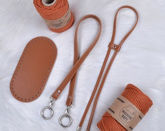ECO leather set for knitting drawstring bag with strap, knitting feedbag, kit for handmade crochet bag, faux leather strap with clasps, knit