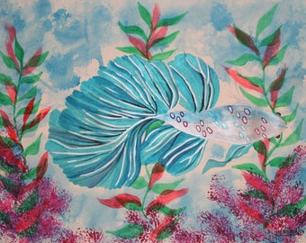 Acrylic Fish paint on paper