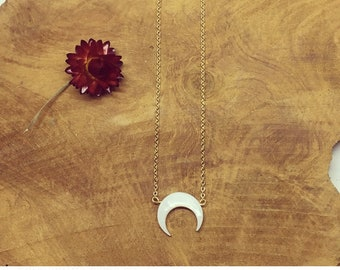 Gold plated Pearl Moon necklace