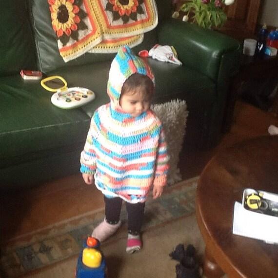 Poncho jacquard manches pour enfants