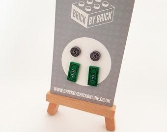 LEGO® Money earrings - dollars, 5 coins - 2 pack geek earrings surgical steel