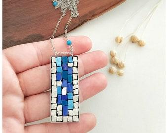 Blue pendant necklace, blue pendant, mosaic, handcrafted mosaic, handmade necklace, blue necklace