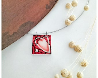 Red necklace with red heart, necklace with red heart, necklace with red pendant, red heart pendant, handcrafted necklace.