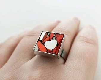 Woman ring, personalized ring, red ring, ring made in Italy, heart ring, mother gift, valentine's day gift