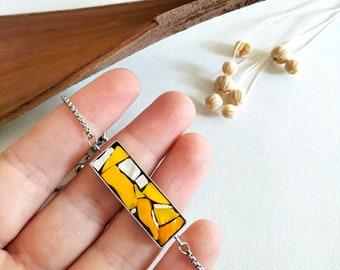 Adjustable orange and yellow bracelet, hypoallergenic bracelet, friendship bracelet, stainless steel bracelet, mosaic jewel.