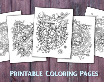 Floral Mandala Coloring Pages For Adults 5 Printable Instant Download PDF Grown Up Page