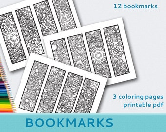 Printable Coloring Bookmarks Pages Instant Download PDF Adult Grown Up