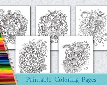 5 Floral Mandala Coloring Pages For Adults Printable Instant Download PDF Grown Up