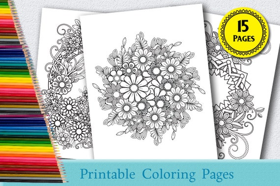- Floral Coloring Pages For Adults 15 Printable Coloring Pages Etsy