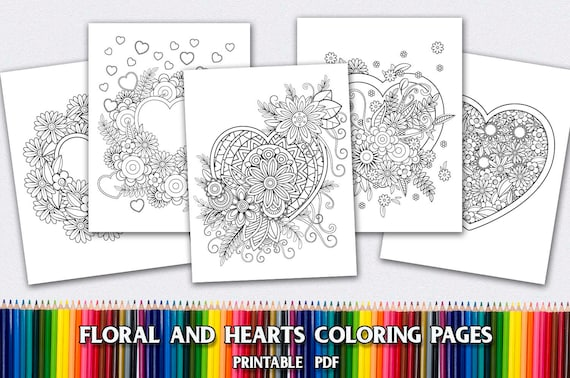 5 Heart Mandala Coloring Pages for Adults 5 Printable Coloring Pages  Instant Download PDF Grown-up Coloring Pages Floral Coloring Pages
