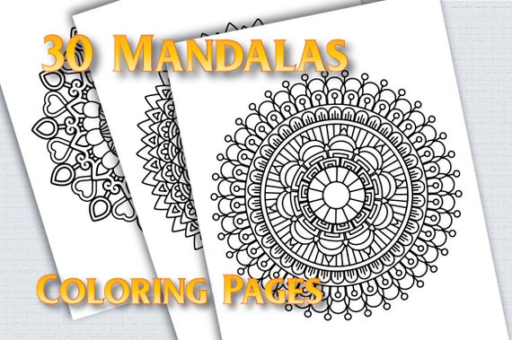 Mandala coloring pages for adults, 30 Printable Coloring Pages Instant  Download