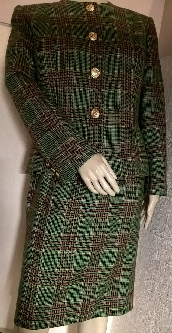 woman Celine green in Vintage tailored great gift tiles Paris Made idea Vintage gift FRANCE In Tweed a w5wqIrTp
