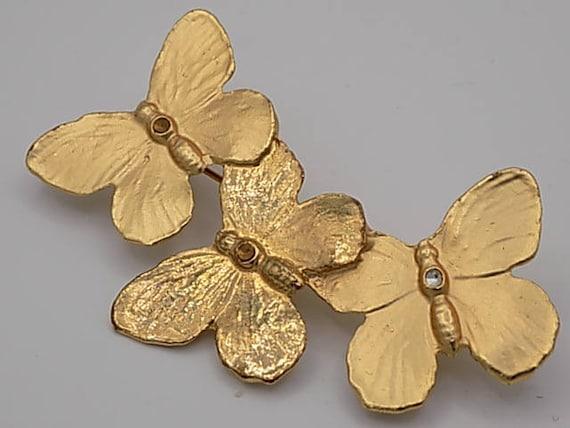 AURIÈGE, Vintage brooch, three butterflies, luxury