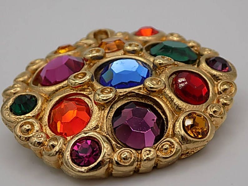 gold plated Crystal colors JACKY DE G Rare vintage brooch women gift gift jewelry Vintage jewelry gift Vintage Made in France wife
