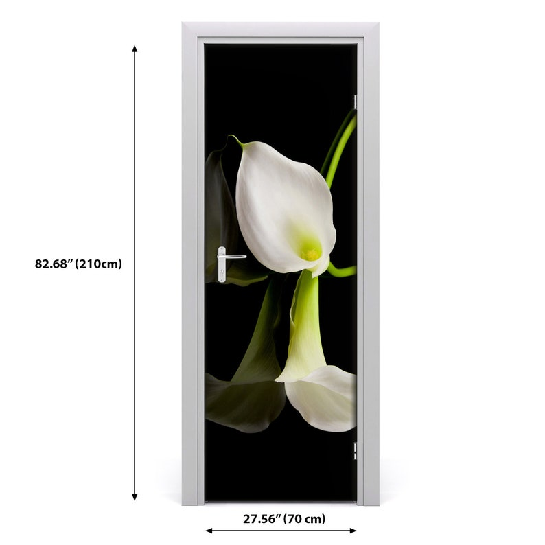 3D Wall Sticker Decoration Self Adhesive Door Decal Mural Flowers White calla  DS/_186