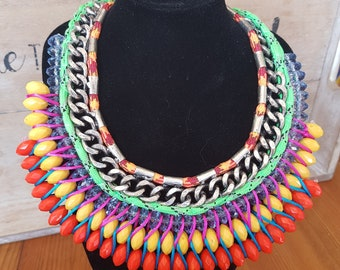 Stunning festival tribal necklace - statement - chunky