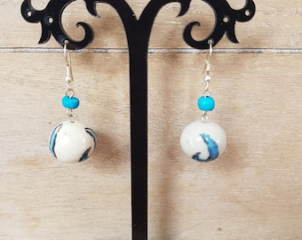 Very pretty shabby chic Boho ceramic bead earrings