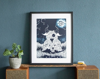 Original Linography Print of The Monster and Me
