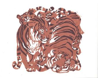 Original Linocut of Tigers