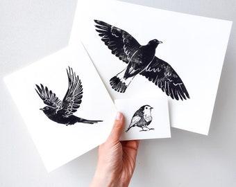 Three Original Bird Prints (three-in-one deal)
