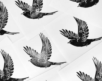 Original Print of a Blackbird