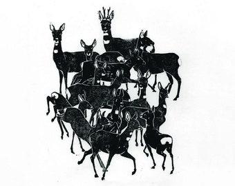 Original Linocut of Bleckede Deer